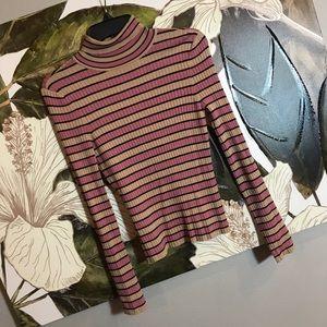 F21 Striped Turtleneck Sweater